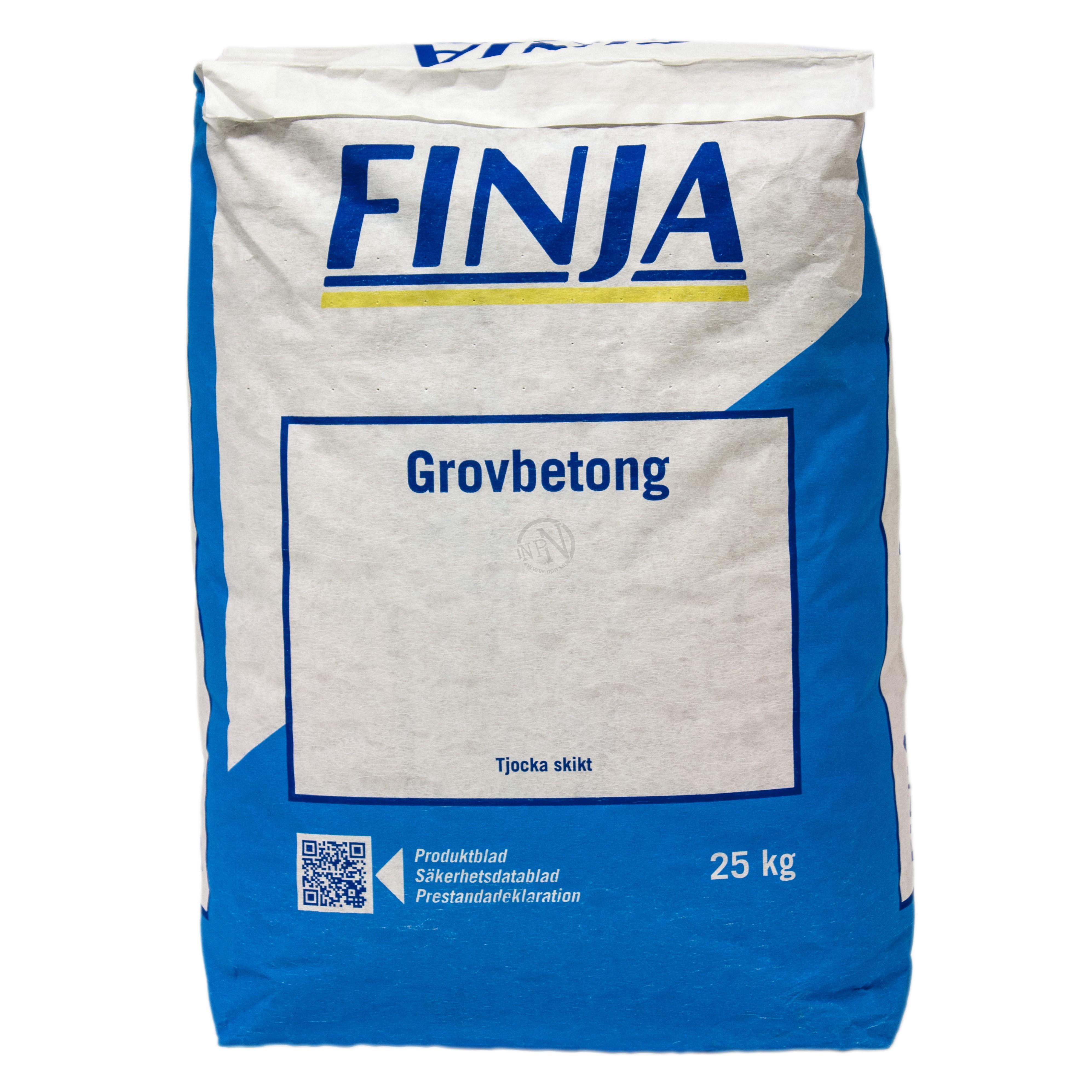grovbetong liter per säck