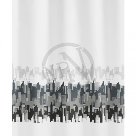 Duschdrapperi City Black-White 180X200