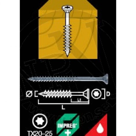Träskruv Försänkt Impreg®+ 4,5x50mm 20st