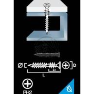 Gipsskruv Kombi Hårdgips används inomhus för att fästa hårdgips i 1mm stålreglar.