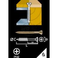 Spånskiva&Sockelskruv FZB Gul Trä/Stål 3,9X28MM 500ST