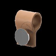 Handdukskrok Ljusbrunt Läder/Krom Till Handdukstork