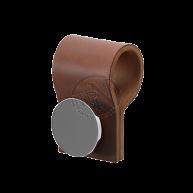 Handdukskrok Mörkbrunt Läder/Krom Till Handdukstork