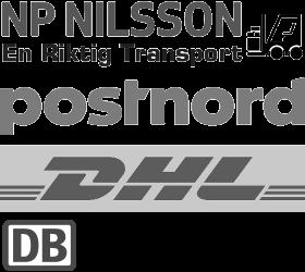 NP Nilsson Trävaru AB frakt logistik och transport, DB Schenker, DHL, Posten, Mypack, Postnord