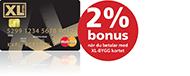 2% bonus när du betalar med XL-BYGG kortet