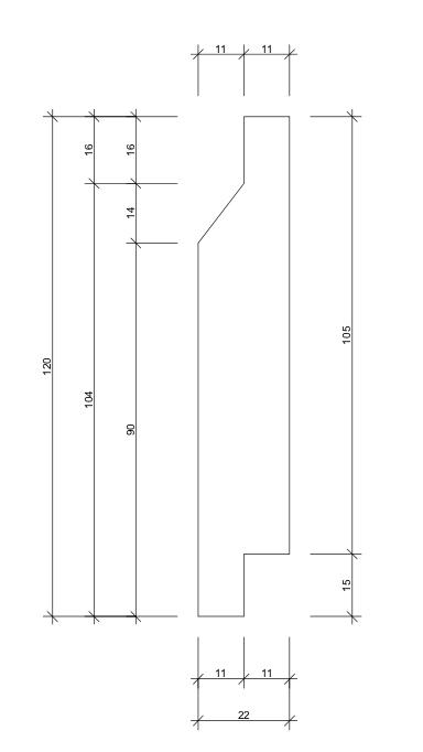 22x120 Enkelfas fals mått skiss
