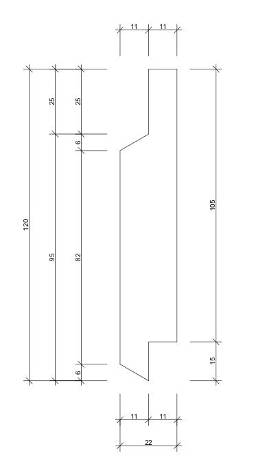 22x120 Falspanel fals mått skiss